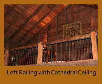 Loft railing with cathedral ceiling