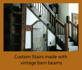 Custom stairs made with vintage barn beams