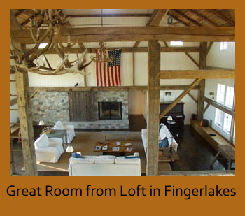 Great room from loft in Fingerlakes